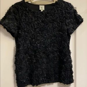 Anthropologie Small black flowered top